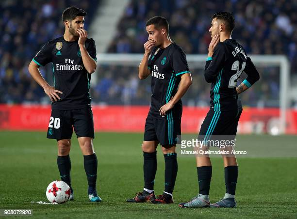Marco Asensio Lucas Vazquez and Daniel Ceballos of Real Madrid CF during the Copa del Rey quarter final first leg match between Real Madrid CF and...