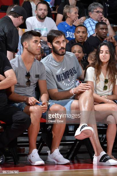 Marco Asensio of Real Madrid and Omri Casspi of the Memphis Grizzlies attend the game against the Oklahoma City Thunder during the 2018 Las Vegas...