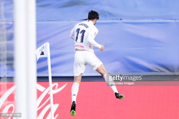 Marco Asensio of Real Madrid celebrates 1-0 during the La Liga Santander match between Real Madrid v Levante at the Santiago Bernabeu on January 30,...