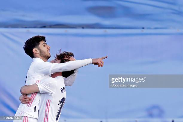 Marco Asensio of Real Madrid celebrates 1-0 with Alvaro Odriozola of Real Madrid during the La Liga Santander match between Real Madrid v Levante at...