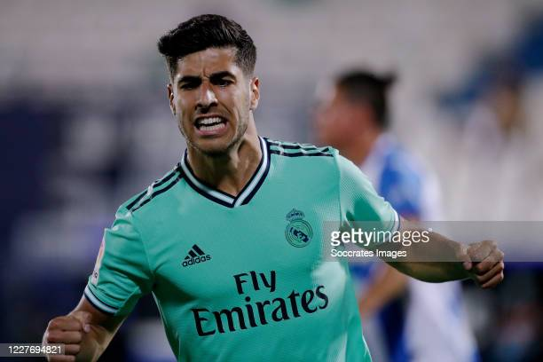 Marco Asensio of Real Madrid celebrates 1-2 during the La Liga Santander match between Leganes v Real Madrid at the Estadio Municipal de Butarque on...