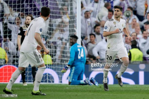 Marco Asensio of Real Madrid celebrates 13 during the UEFA Champions League match between Real Madrid v Ajax at the Santiago Bernabeu on March 5 2019...