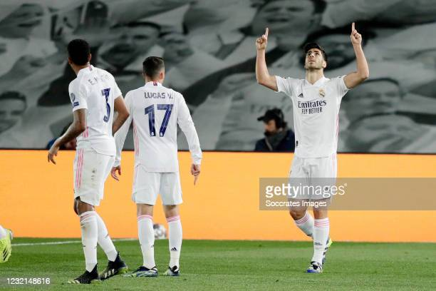 Marco Asensio of Real Madrid Celebrates 2-0 during the UEFA Champions League match between Real Madrid v Liverpool at the Estadio Alfredo Di Stefano...
