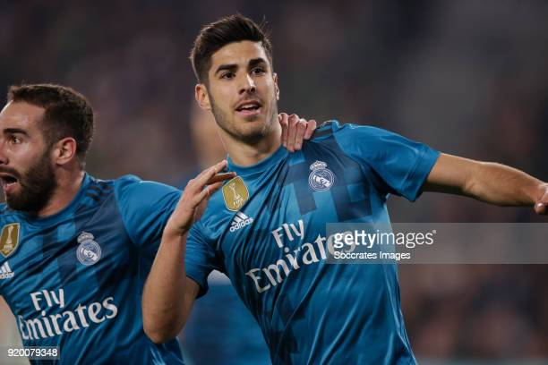 Marco Asensio of Real Madrid celebrates 23 during the La Liga Santander match between Real Betis Sevilla v Real Madrid at the Estadio Benito...