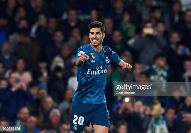 Marco Asensio of Real Madrid celebrates after scoring a goal during the La Liga match between Real Betis and Real Madrid at Benito Villamrin stadium...