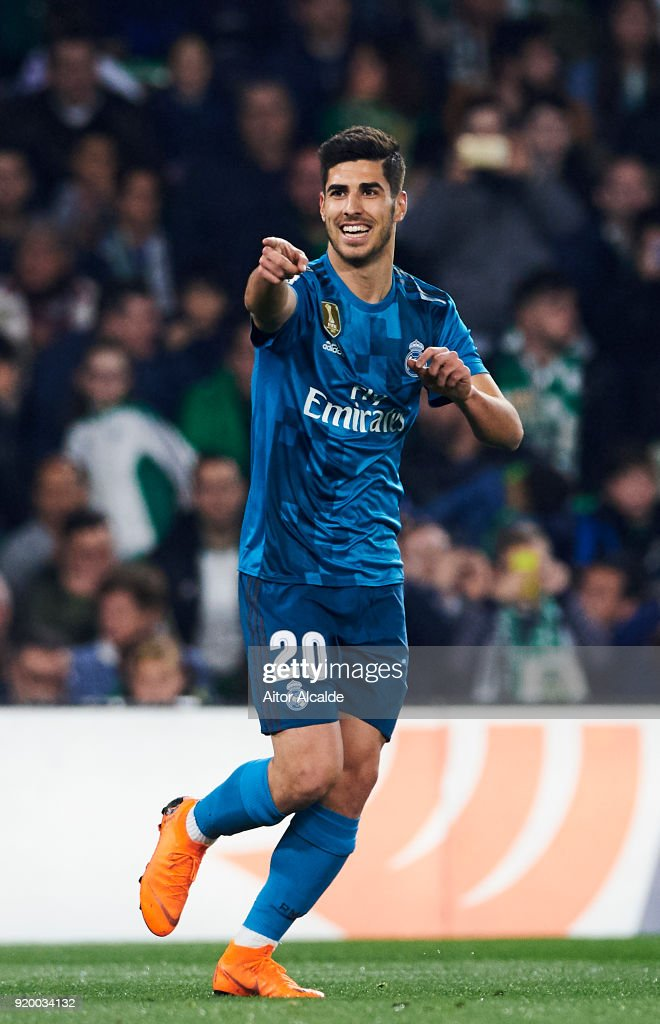 Marco Asensio of Real Madrid celebrates after scoring a goal during the La Liga match between Real Betis and Real Madrid at Benito Villamrin stadium on February 18, 2018 in Seville, Spain.