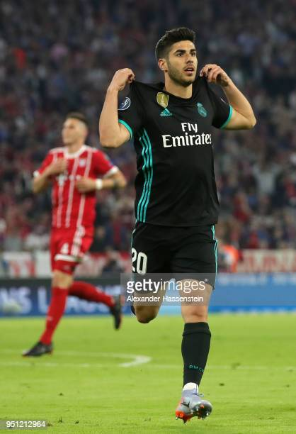 Marco Asensio of Real Madrid celebrates after scoring his sides second goal during the UEFA Champions League Semi Final First Leg match between...