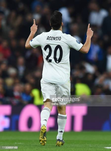 Marco Asensio of Real Madrid celebrates after scoring his team's first goal during the UEFA Champions League Round of 16 Second Leg match between...