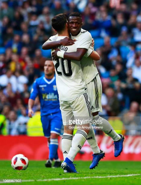 Marco Asensio of Real Madrid celebrates after scoring his team's second goal with Vinicius Junior during the Copa del Rey fourth round match between...