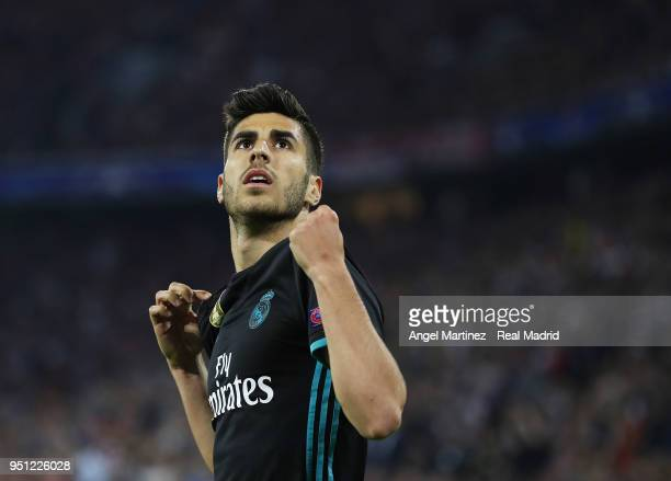 Marco Asensio of Real Madrid celebrates after scoring his team's second goal during the UEFA Champions League Semi Final First Leg match between...