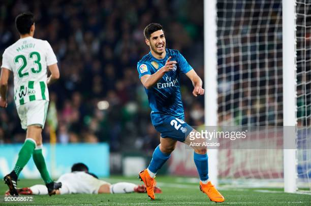 Marco Asensio of Real Madrid celebrates after scoring his team's third goal during the La Liga match between Real Betis and Real Madrid at Benito...