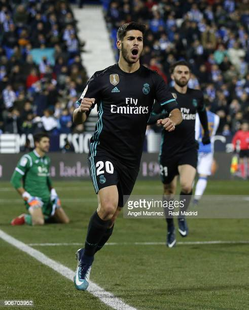 Marco Asensio of Real Madrid celebrates after scoring the opening goal during the Spanish Copa del Rey Quarter Final First Leg match between Leganes...