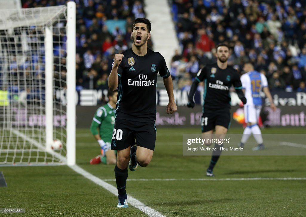 Marco Asensio of Real Madrid celebrates after scoring the opening goal during the Spanish Copa del Rey, Quarter Final, First Leg match between Leganes and Real Madrid at Estadio Municipal de Butarque on January 18, 2018 in Leganes, Spain.
