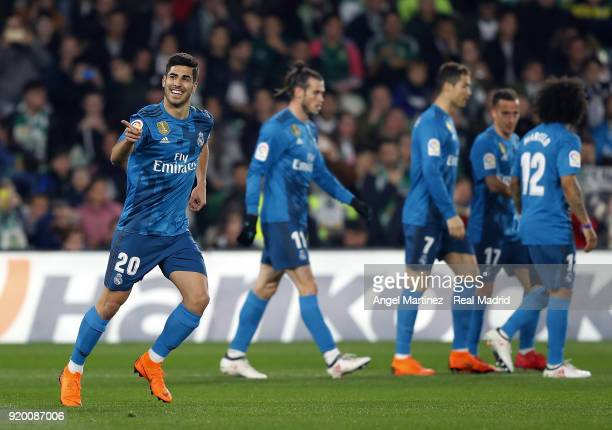 Marco Asensio of Real Madrid celebrates after scoring the opening goal during the La Liga match between Real Betis and Real Madrid at Estadio Benito...