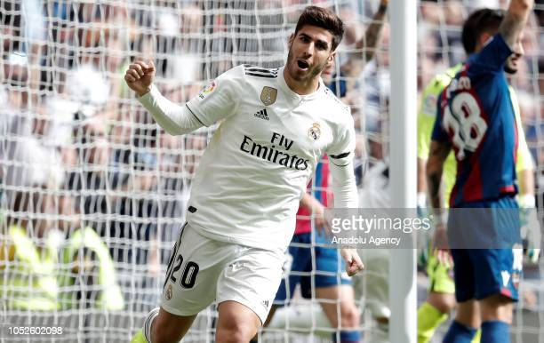 Marco Asensio of Real Madrid celebrates for a goal before the referee disallow the goal due to offside during the La Liga match between Real Madrid...