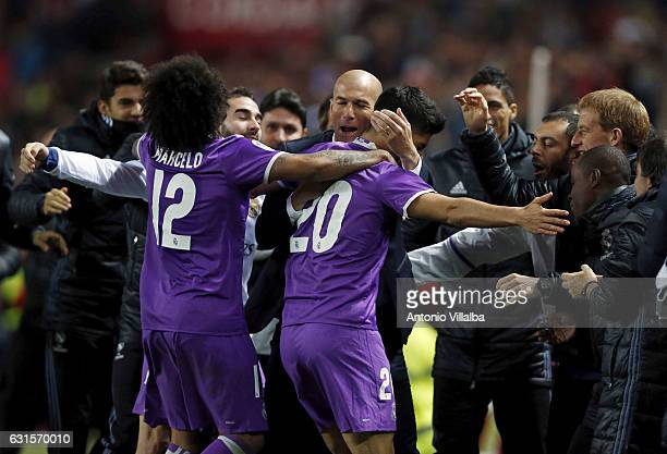 Marco Asensio of Real Madrid celebrates his goal whit teammates during the Copa del Rey round of 16 second leg match between Sevilla and Real Madrid...
