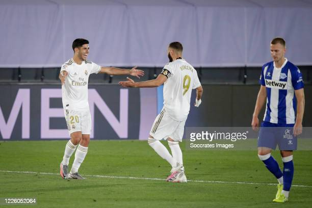Marco Asensio of Real Madrid, celebrates his goal with Karim Benzema of Real Madrid during the La Liga Santander match between Real Madrid v...