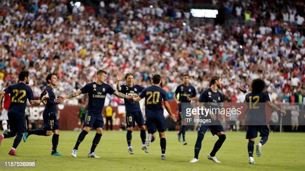 Marco Asensio of Real Madrid celebrates his team's goal with team mates during the 2019 International Champions Cup match between Real Madrid and...
