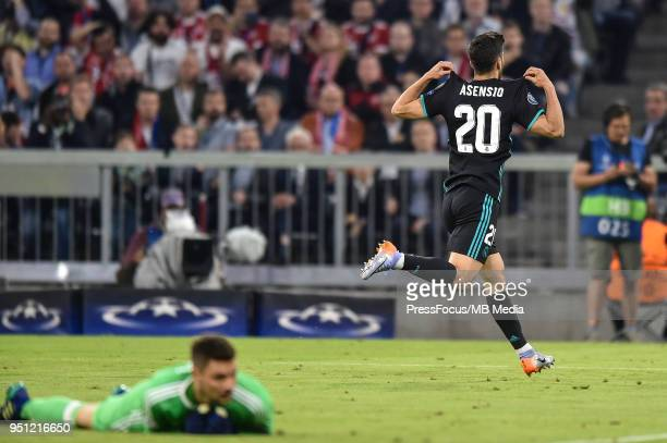 Marco Asensio of Real Madrid celebrates scoring a goal during the UEFA Champions League Semi Final First Leg match between Bayern Muenchen and Real...