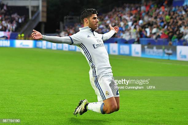 Marco Asensio of Real Madrid celebrates scoring the opening goal during the UEFA Super Cup match between Real Madrid and Sevilla at Lerkendal Stadion...