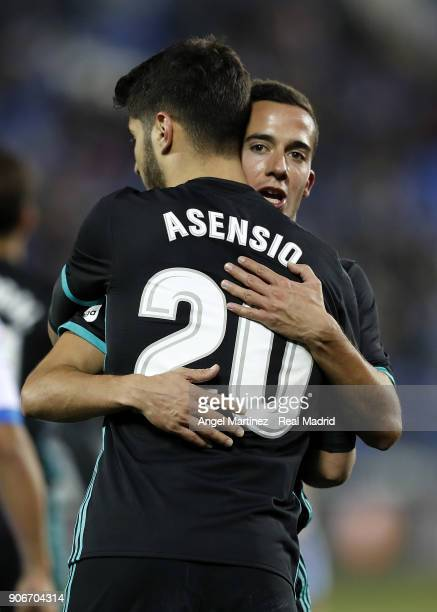 Marco Asensio of Real Madrid celebrates with Lucas Vazquez scoring the opening goal during the Spanish Copa del Rey Quarter Final First Leg match...