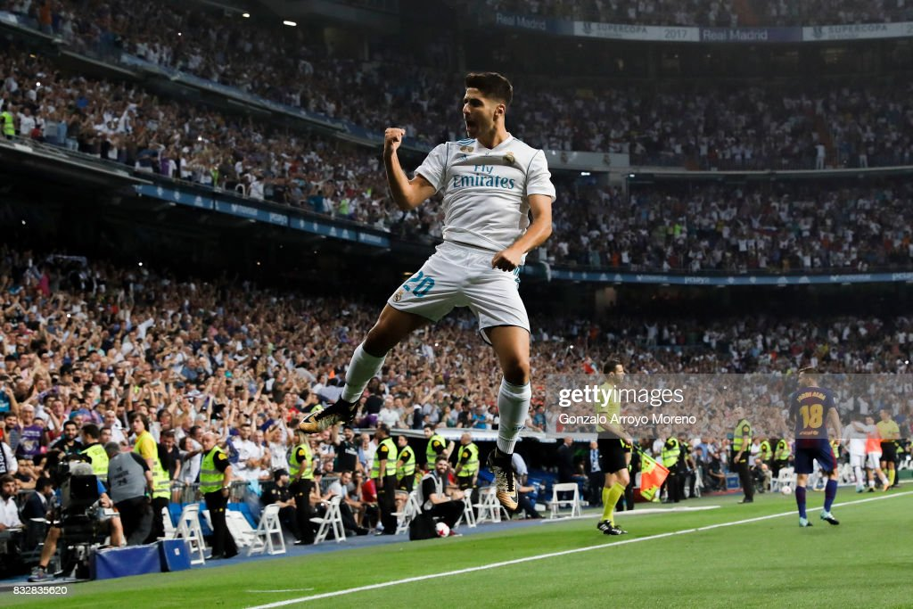 Marco Asensio of Real Madrid CF celebrates scoring their opening goal during the Supercopa de Espana Final 2nd Leg match between Real Madrid and FC Barcelona at Estadio Santiago Bernabeu on August 16, 2017 in Madrid, Spain.