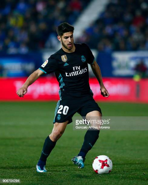Marco Asensio of Real Madrid CF controls the ball during the Copa del Rey quarter final first leg match between Real Madrid CF and Club Deportivo...