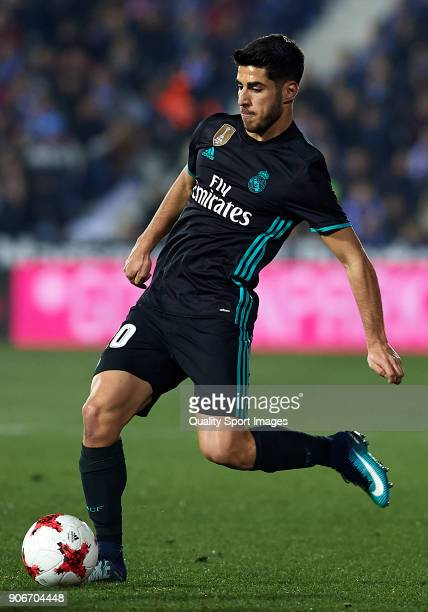 Marco Asensio of Real Madrid CF in action during the Copa del Rey quarter final first leg match between Real Madrid CF and Club Deportivo Leganes at...