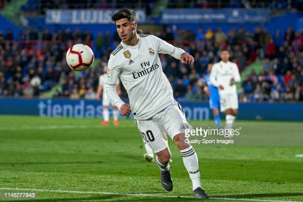 Marco Asensio of Real Madrid CF in action during the La Liga match between Getafe CF and Real Madrid CF at Coliseum Alfonso Perez on April 25 2019 in...