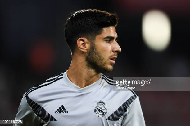 Marco Asensio of Real Madrid CF looks on during the warm up prior to the La Liga match between Girona FC and Real Madrid CF at Montilivi Stadium on...