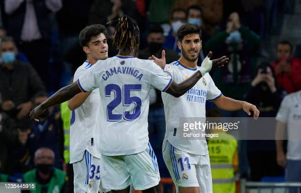 Marco Asensio of Real Madrid CF, Miguel Gutierrez of Real Madrid CF and Eduardo Camavinga of Real Madrid CF celebrates after their team scored a goal...