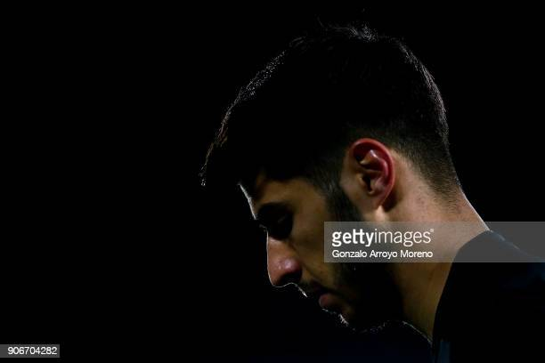 Marco Asensio of Real Madrid CF reacts during the Copa del Rey quarter final first leg match between Real Madrid CF and Club Deportivo Leganes at...