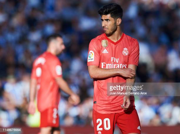 Marco Asensio of Real Madrid CF reacts during the La Liga match between Real Sociedad and Real Madrid CF at Estadio Anoeta on May 12, 2019 in San...