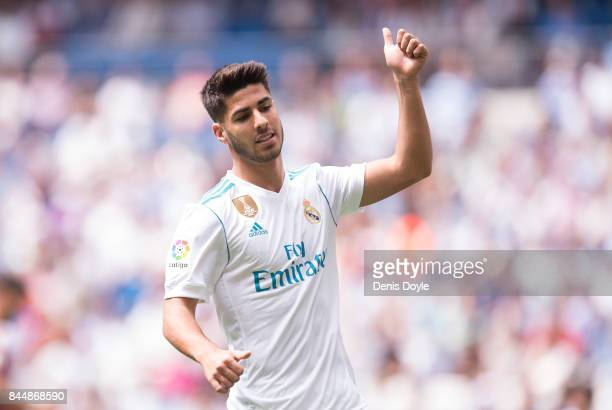 Marco Asensio of Real Madrid CF reacts during the La Liga match between Real Madrid and Levante at Estadio Santiago Bernabeu on September 9 2017 in...