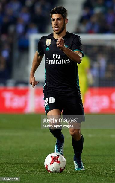 Marco Asensio of Real Madrid CF runs with the ball during the Copa del Rey quarter final first leg match between Real Madrid CF and Club Deportivo...