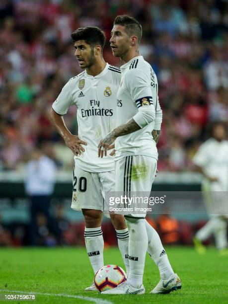 Marco Asensio of Real Madrid CF Sergio Ramos Garcia of Real Madrid CF during the La Liga Santander match between Athletic de Bilbao v Real Madrid at...