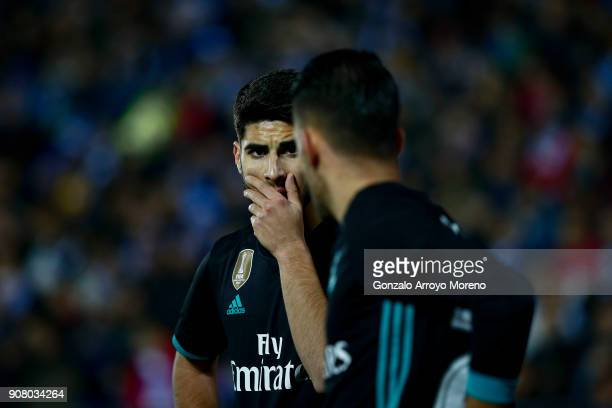 Marco Asensio of Real Madrid CF speaks with his teammate Daniel Ceballos during the Copa del Rey quarter final first leg match between Real Madrid CF...