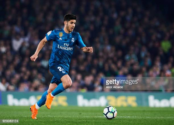 Marco Asensio of Real Madrid controls the ball during the La Liga match between Real Betis and Real Madrid at Benito Villamrin stadium on February 18...