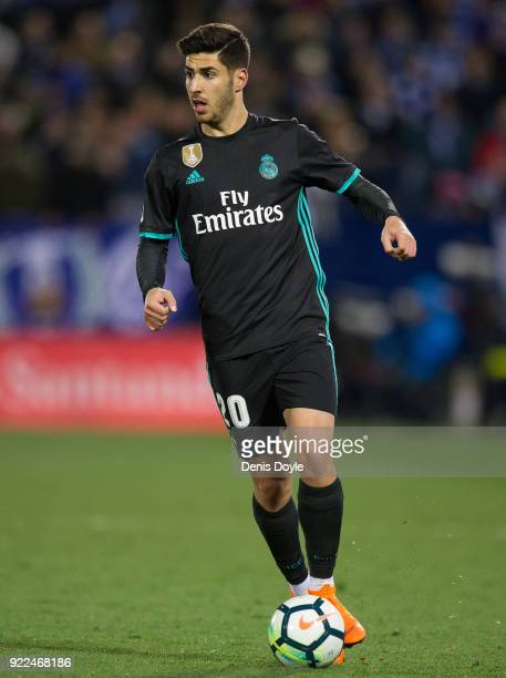 Marco Asensio of Real Madrid controls the ball during the La Liga match between Leganes and Real Madrid at Estadio Municipal de Butarque on February...