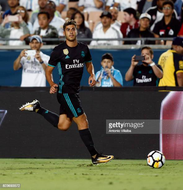 Marco Asensio of Real Madrid during a match against Manchester City during the International Champions Cup soccer match at Los Angeles Memorial...