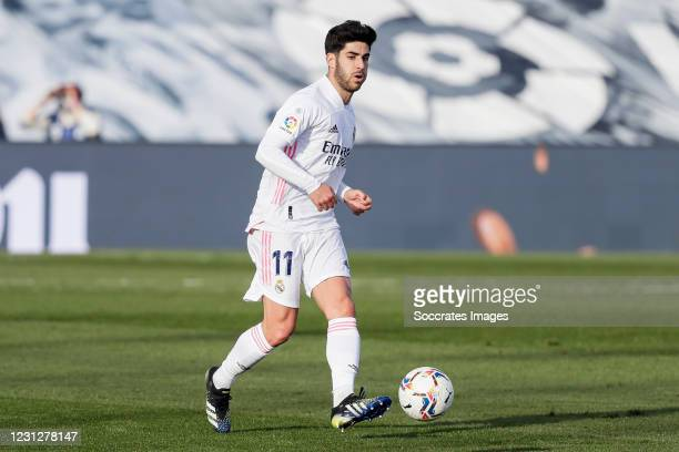 Marco Asensio of Real Madrid during the La Liga Santander match between Real Madrid v Valencia at the Estadio Alfredo Di Stefano on February 14, 2021...