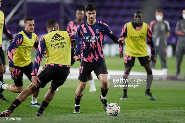Marco Asensio of Real Madrid during the La Liga Santander match between Real Valladolid v Real Madrid at the Estadio Nuevo Jose Zorrilla on February...