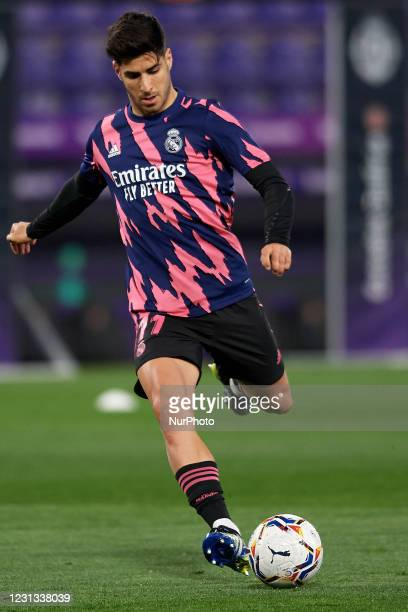 Marco Asensio of Real Madrid during the warm-up before the La Liga Santander match between Real Valladolid CF and Real Madrid at Estadio Municipal...