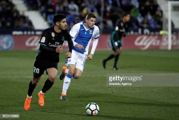 Marco Asensio of Real Madrid in action against Gerard Gumbau of Leganes during the La Liga football match between Leganes and Real Madrid at the...