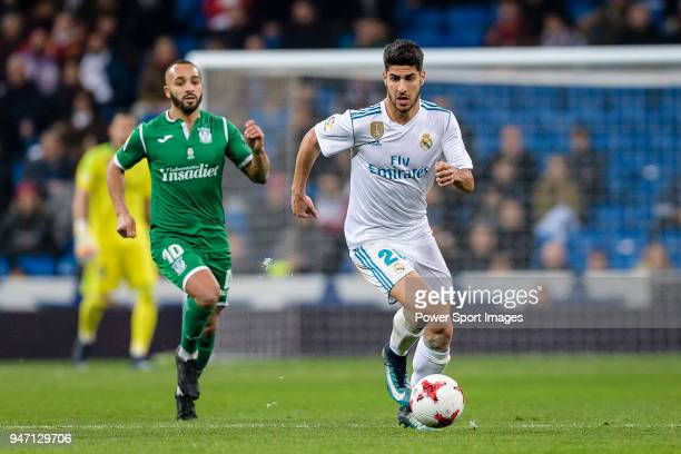 Marco Asensio of Real Madrid in action against Nabil El Zhar of CD Leganes during La Copa del Rey 201718 match between Real Madrid vs CD Leganes at...