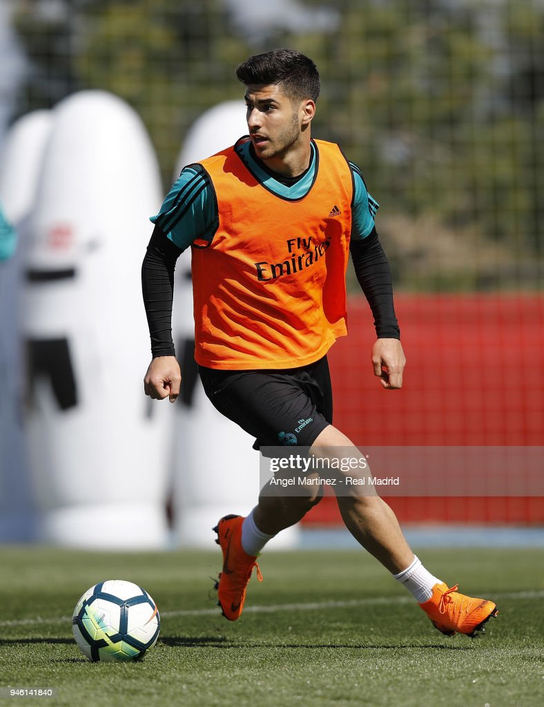 Marco Asensio of Real Madrid in action during a training session at Valdebebas training ground on April 14, 2018 in Madrid, Spain.