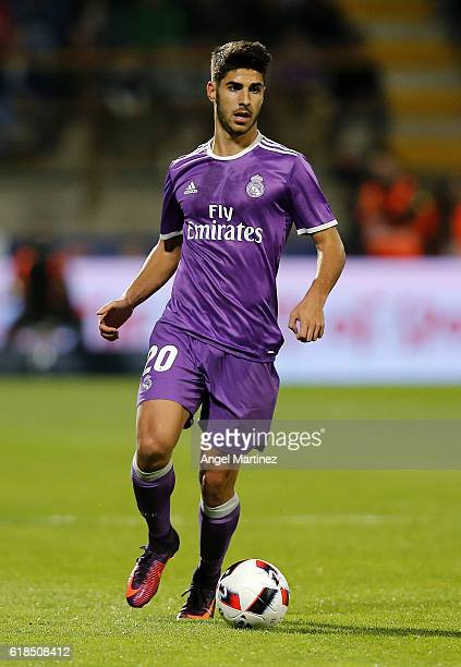 Marco Asensio of Real Madrid in action during the Copa del Rey round of 32 first leg match between Cultural y Deportiva Leonesa and Real Madrid CF at...