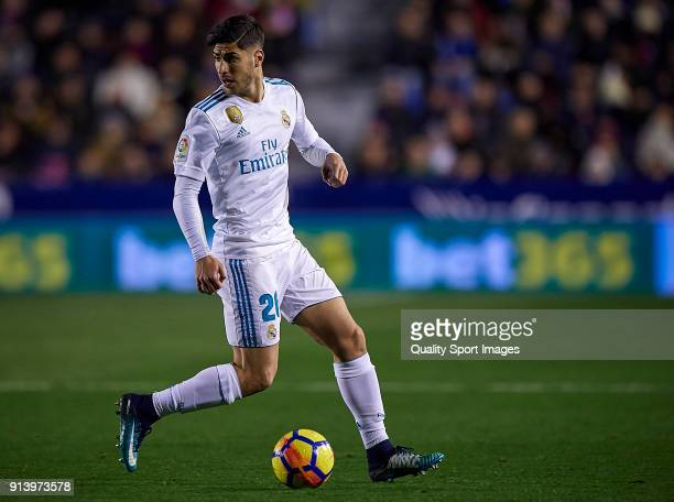 Marco Asensio of Real Madrid in action during the La Liga match between Levante and Real Madrid at Ciutat de Valencia Stadium on February 3 2018 in...