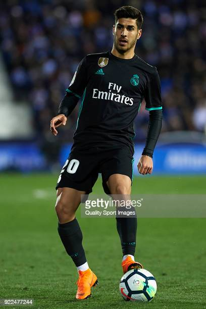 Marco Asensio of Real Madrid in action during the La Liga match between CD Leganes and Real Madrid at Estadio Municipal de Butarque on February 21...