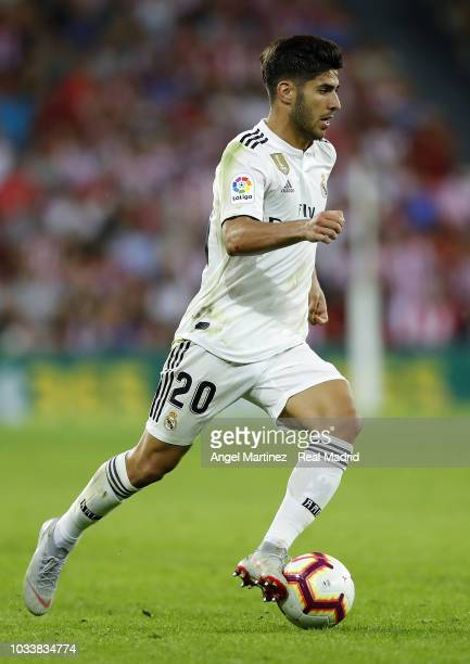 Marco Asensio of Real Madrid in action during the La Liga match between Athletic Club and Real Madrid at San Mames Stadium on September 15 2018 in...